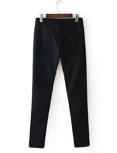 pour YFLTZ Couleur Unie Jeans White Pantalon Street Femme Chic wqFaI7pBq