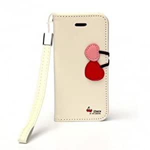 Sweet Cherry Pattern Card Slot PU Leather Case For iPhone 5C -*- Color -- White