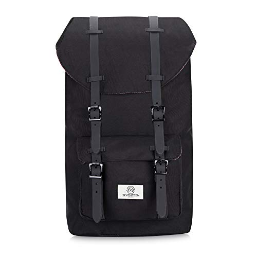 SEVENTEEN LONDON - Modern Unisex Outdoor Waterproof Hiking Backpack with Classic Belt Detailing - Fits Laptop up to 15.6