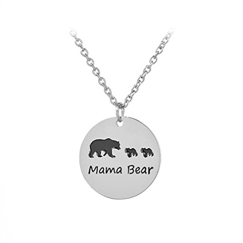 Pendant Mama 1 (Meolin Sweet Family Mama and Baby Bear Round Pendant Necklace Cute Mom Necklace,three Bears,47cm+5cm)