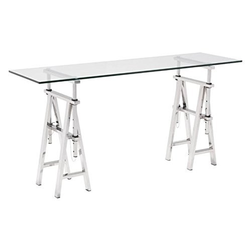 Zuo Modern 100360 Lado Console Table, Stunning stainless steel, Saw-horse Style Adjustable Height Base, Tempered Glass Top, 150 lbs Weight Capacity, Dimensions 60