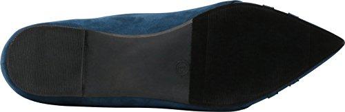 Select On Driving Flat Pointed Cambridge Toe Navy Loafer Slip Women's Imsu Smoking dX0wwZzq