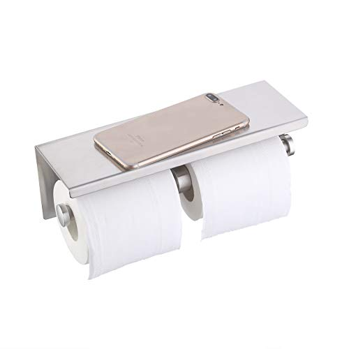 KES Dual Toilet Paper Holder RUSTPROOF Stainless Steel Bathroom Double Tissue Paper Towel Roll Holder Hanger Wall Mount Brushed Finish, BPH201S2-2