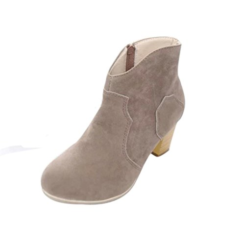 Women Boots - Honestyi - Women Women Short Cylinder Boots High Heels Boots Shoes Martin Boots Ankle Boots-Artificial leather+plastic Gray IvgVdEuG