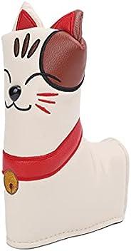 Golf Club Cover, L Type, Cute Lucky cat, PU + Plush Head Cover PU Leather Putter Blade Head Cover Magnetic Clo