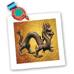 (3dRose Boehm Chinese Dragon Square Quilt Sheet, 10 by 10-Inch)