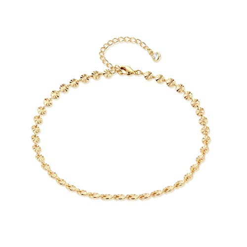 (LOYATA Dainty Ankle Bracelet, 14K Gold Plated Tiny Bead Anklet Dainty Flower Foot Chain Lucky Cute Foot Jewelry Boho Anklets for Women (Flower) )