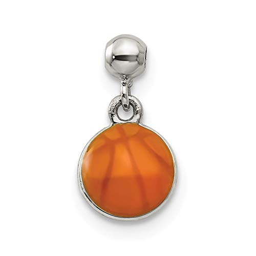 - FB Jewels Sterling Silver Mio Memento Enamel Dangle Basket Ball Charm