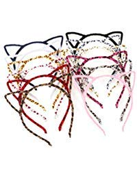 (Unomor 12PCS Cat Ears Hair Headband Fluffy Hair Hoop for Cat Birthday Party Supplies and Daily Accessories, with 12)