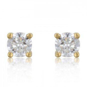 ISADY - Gina Gold - Boucles d'oreille - Clous d'oreilles - Argent fin 925/1000 et Plaqué Or jaune 585/1000 - Oxyde de zirconium transparent - 4 mm - Vintage