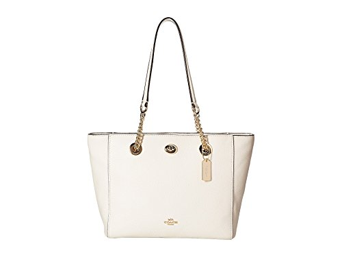 (COACH Women's Pebbled Turnlock Chain Tote 27 Li/Chalk One Size )