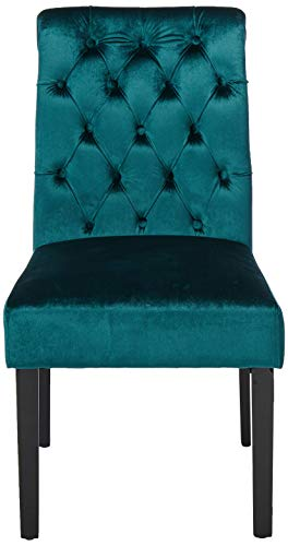 Christopher Knight Home 302603 Deanna Tufted Teal Velvet Dining Chair with Roll Top (Set of 2), - 2