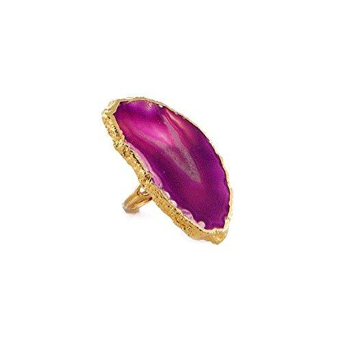 Charlene K Fuchsia Sliced Agate Gemstone 24k Gold Plated Ring by Charlene K