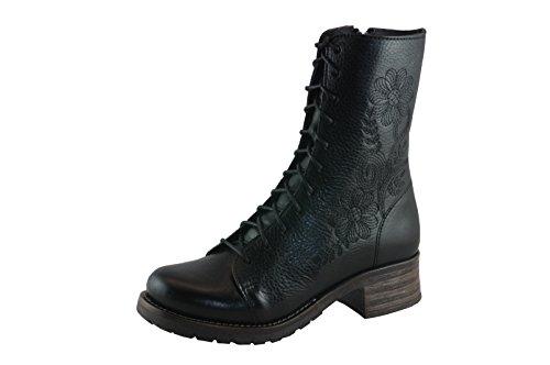 mit Leder schwarz 8468 Profil Stiefeletten Military Stickerei Brako Damen Gummisohle Traviata wTUYqnxRT6