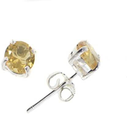 Sterling Silver and Genuine 5mm Round Citrine Post Stud Earrings