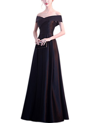 - Black Wedding Dress Long Strapless Silk Evening Dress (XL)
