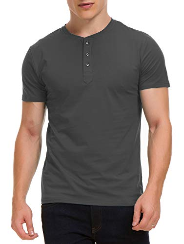 Boisouey Men's Casual Slim Fit Short Sleeve Henley T-Shirts Cotton Shirts (Solid Grey, ()
