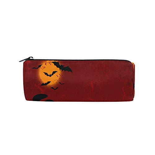 Pencil Case Halloween Cute Clip Art Zippered Pencil Box Round Stationery Bag Makeup Cosmetic Bag for Students/Women