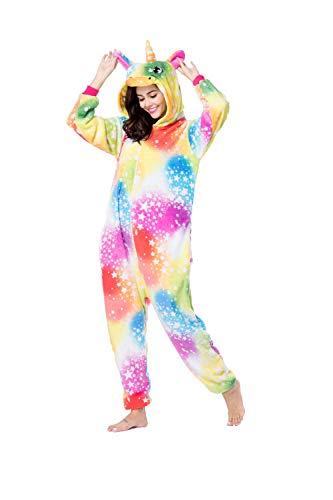 RONGTAI Animal Unicorn Onesie Pajamas,Adult Men Women Unisex Fannel Cosplay Costume (Medium, Playmates Toys Unicorn) ()