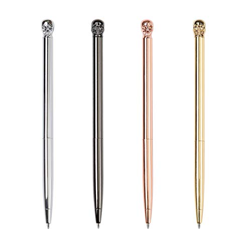 PASISIBICK Novelty Skull Ballpoint Pens,Metal Writing Pen for Nurse Dr. Stationery Crazy Student Gift (Pack 4)