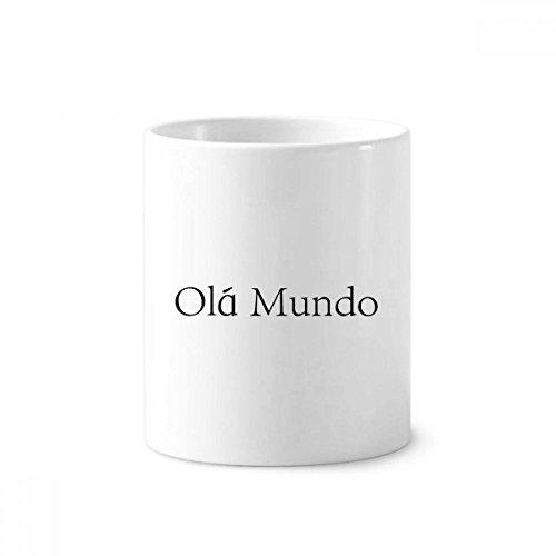 Hello World - Soporte para bolígrafo de cerámica portuguesa (350 ml), color blanco