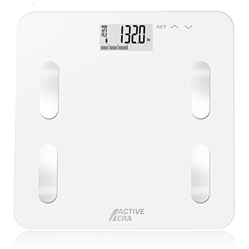 Active Era Digital Body Weight Bathroom Scale - Body Fat Analyzer with BF%, BMI, Age, Weight & Height | Made from Ultra Strong Tempered Glass with LCD Display and Auto On/Off (White)
