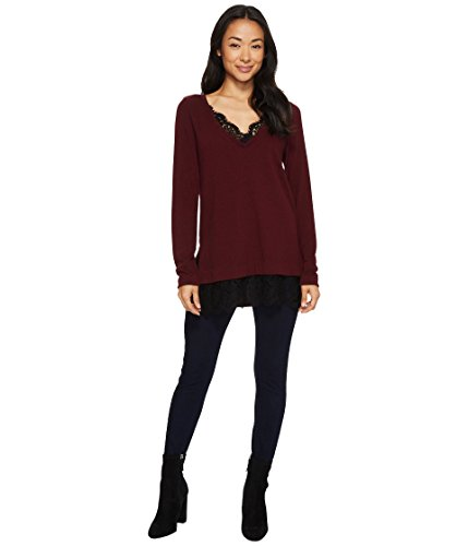 Karen Kane Women's Lace Inset V-Neck Sweater, Wine, (Inset V-neck)