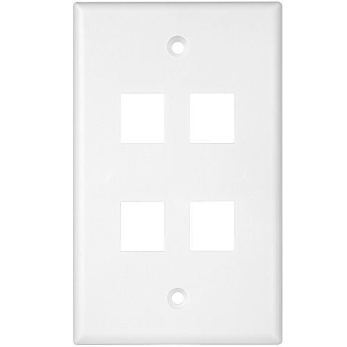 Module Data 4 (Enerlites 8874-W 1 Gang 4-Port Keystone Wall Plate for Voice/Data and Audio/Video Multimedia Modules, White)