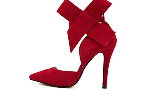 YCMDM signore delle donne scarpe Paste-tacco alto scarpe sandali moda scarpe singolo primavera-estate , red , 36