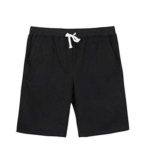 Mens Gym Workout Running Shorts Classic Cotton Jogger Pants Black - Shorts Cotton Running