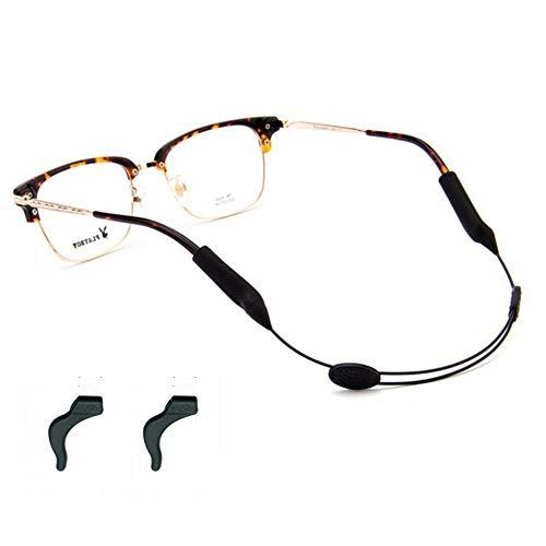YALEX Eyeglasses Strap Adjustable Eyewear Lanyard Sports Eyeglasses Anti - Slip Hooks Anti (Black) (Eyeglass Cord Retainer)