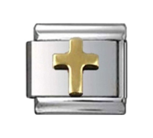 Stylysh Charms Cross Gold Tone Religious Enamel Italian 9mm Link RE025 -