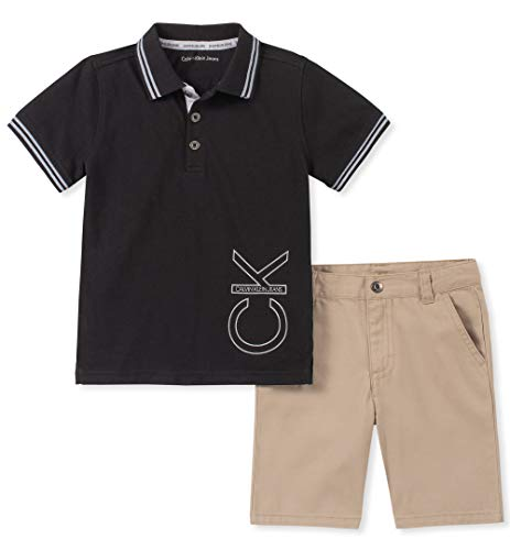 - Calvin Klein Boys' Toddler 2 Pieces Polo Shorts Set, Black, 2T