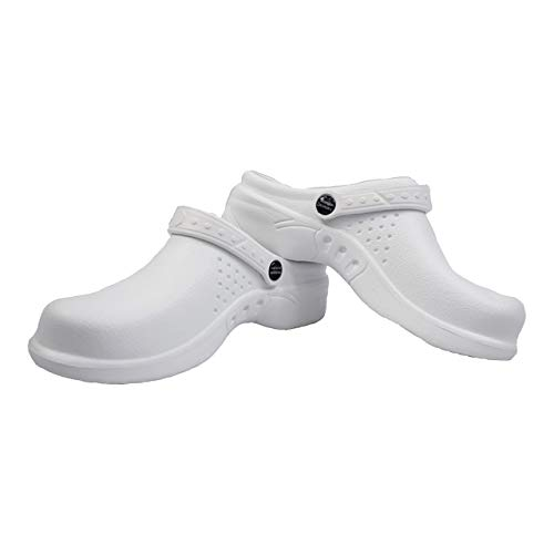 - Natural Uniforms Ultralite Women's Clogs with Strap, Medical Work Mule (Size 7, White)