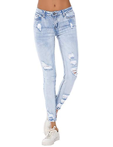 Resfeber Women's Boyfriend Jeans Distressed Slim Fit Ripped Jeans Comfy Stretch Skinny Jeans (Lightwash, 16)