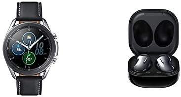 Samsung Galaxy Watch 3 (41mm, GPS, Bluetooth) Smart Watch - Mystic Silver with Samsung Galaxy Buds Live, T, Mystic Black