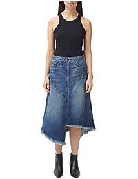 Asymmetrical Seamed Denim Skirt