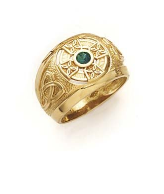 14k Yellow Gold Celtic Cross Synthetic Emerald Mens Ring - Size 10.0
