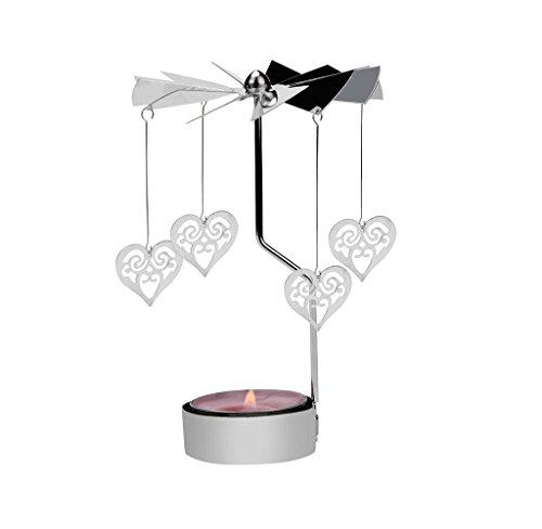 Sumilulu Rotating Metal Carousel Tea Light Candle Holder Candelabrum Xmas - Romantic Hot