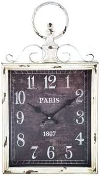 Antique White Rectangular Metal Swirl Wall Clock