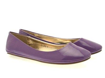 Flats 8 Patent 3 Womens Pumper Ballerinas Damer Ballett Jenter Matt Faux Lilla Størrelse Skinn Komfortable Sko R1W6WHn