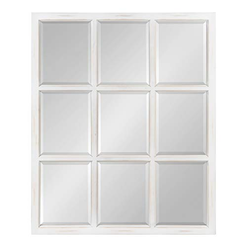 Kate and Laurel Hogan 9 Windowpane Wood Wall Mirror, Rustic White 26x32