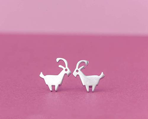 Goat Earrings Ram Earrings Studs sterling silver zodiac 0.0009