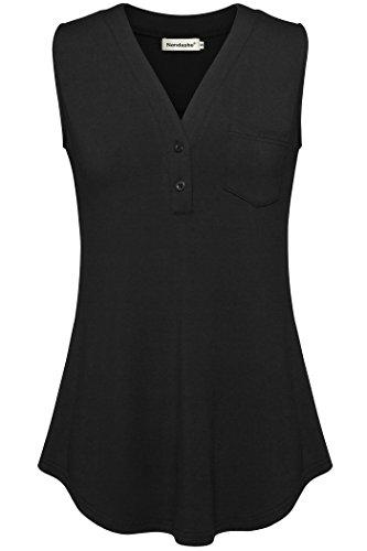 Women Loose V Neck Tunic Tops,Nandashe Sleeveless Summer Tops for Women Black (Poplin Ruffle Blouse)
