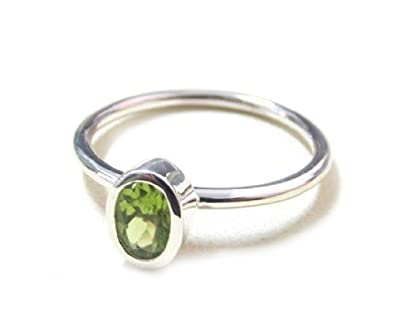 ZilverPassion Sterling Silver Oval 6x4mm Peridot Stacking Ring, August Birthstone Size 2-15