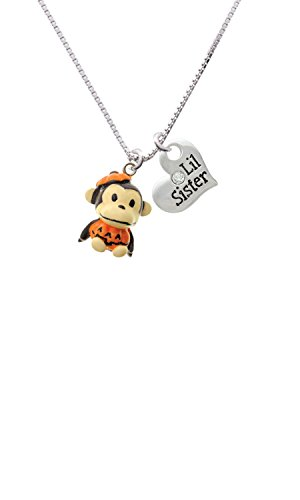 [Resin Monkey in Pumpkin Costume - Lil Sister Heart Necklace] (Sorority Sisters Costume)