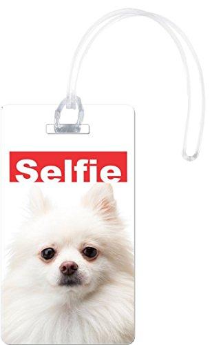 Rikki Knight Selfie Pomeranian Dog Design Flexi Luggage Tags, White from Rikki Knight