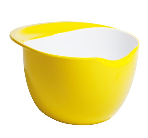 (Fusionbrands CrackPot Melamine Mixing Bowl with Egg Cracking Edge, Yellow)