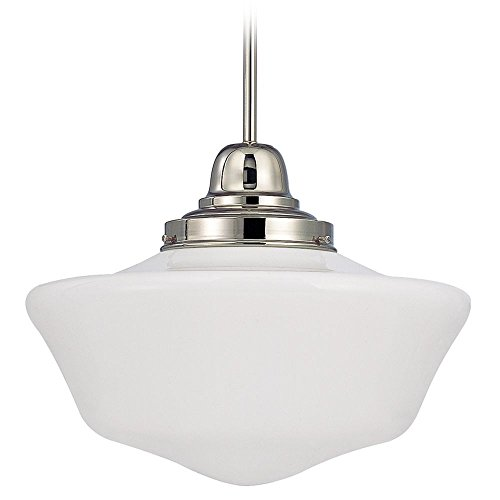 120v Line Voltage Round Canopy (16-Inch Schoolhouse Pendant Light in Polished Nickel Finish)