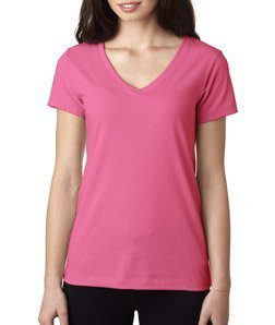 Jersey Womens Pink T-shirt - Next Level Women's Lightweight V-Neck Jersey T-Shirt, Large, Hot Pink